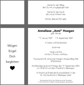 Traueranzeige von Anneliese  Hoegen von Rheinische Post