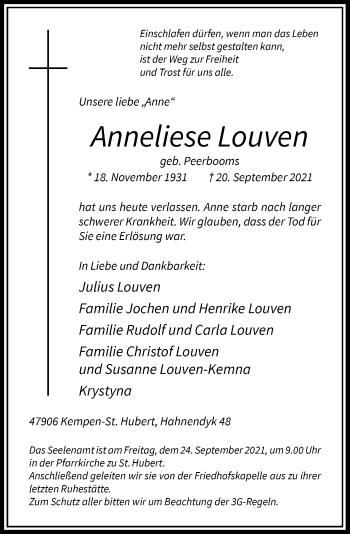 Traueranzeige von Anneliese Louven von Rheinische Post