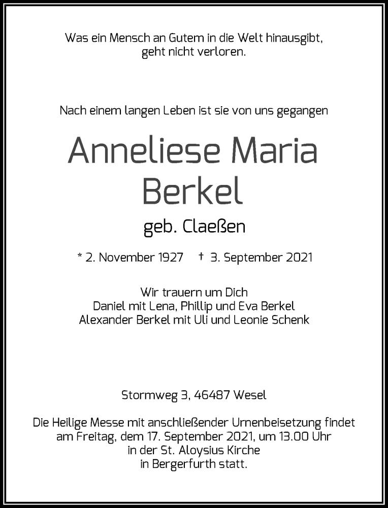 Traueranzeige für Anneliese Maria Berkel vom 14.09.2021 aus Rheinische Post