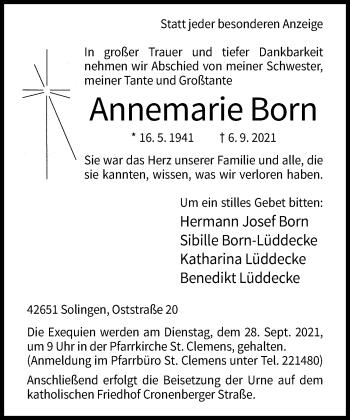 Traueranzeige von Annemarie Born von Rheinische Post