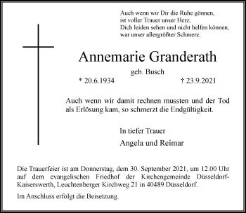 Traueranzeige von Annemarie Granderath von Rheinische Post