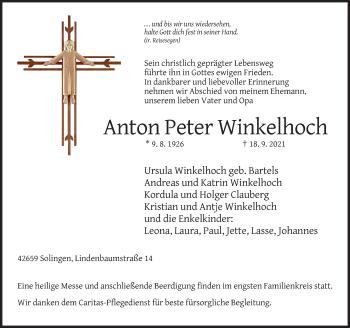 Traueranzeige von Anton Peter Winkelhoch von Rheinische Post