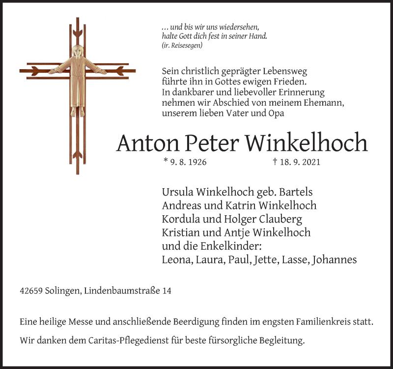 Traueranzeige für Anton Peter Winkelhoch vom 25.09.2021 aus Rheinische Post