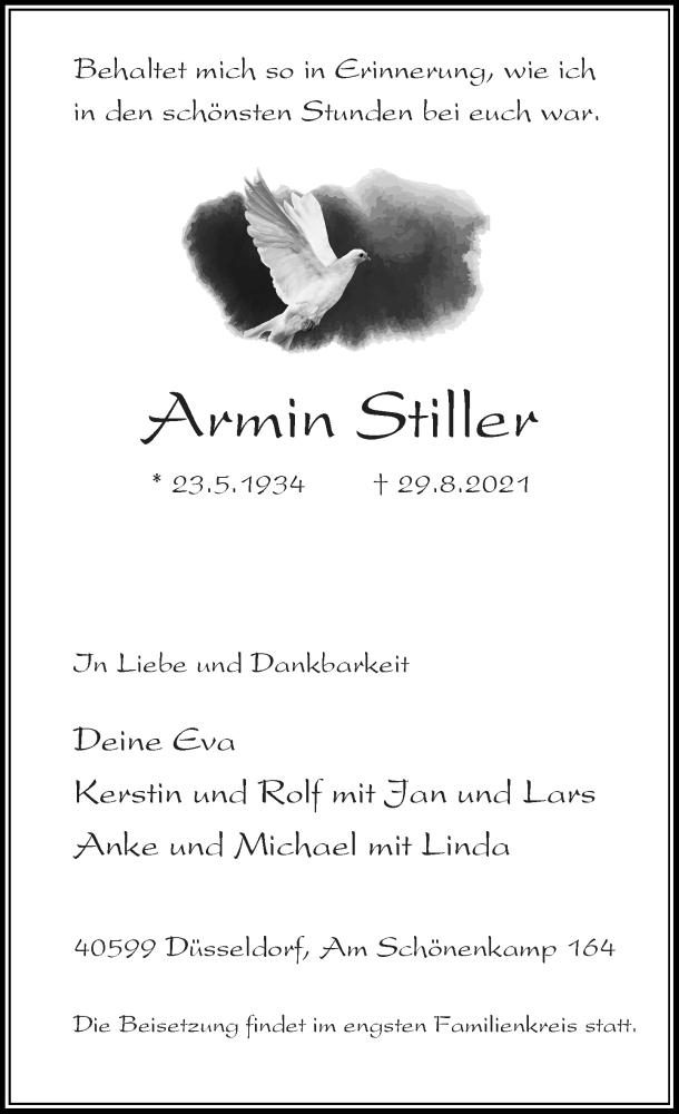 Traueranzeige für Armin Stiller vom 18.09.2021 aus Rheinische Post