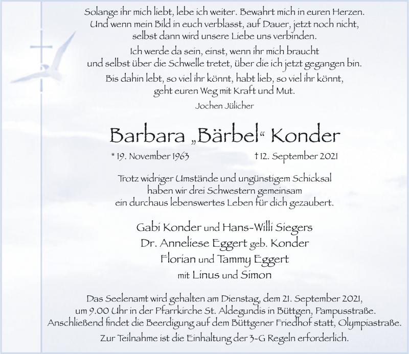Traueranzeige für Barbara Konder vom 15.09.2021 aus Rheinische Post