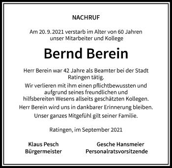 Traueranzeige von Bernd Berein von Rheinische Post