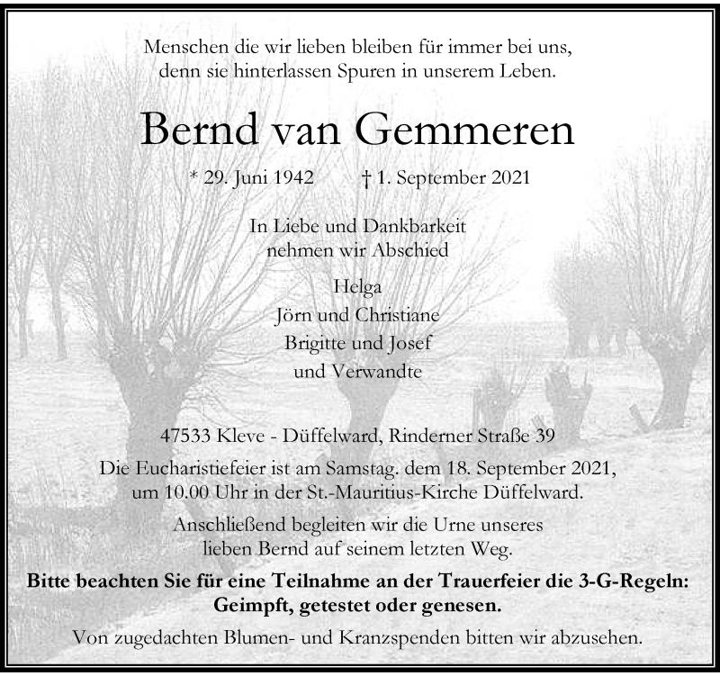 Traueranzeige für Bernd van Gemmeren vom 11.09.2021 aus Rheinische Post