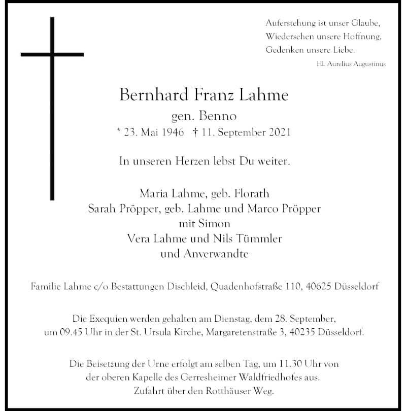 Traueranzeige für Bernhard Franz Lahme vom 18.09.2021 aus Rheinische Post
