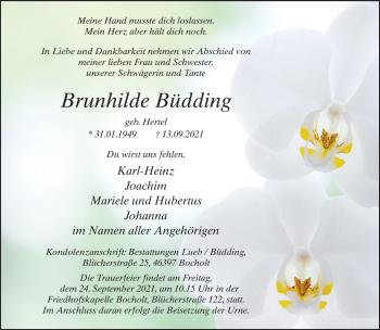 Traueranzeige von Brunhilde Büdding von Rheinische Post