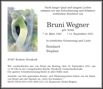 Traueranzeige von Bruni Wegner von Rheinische Post