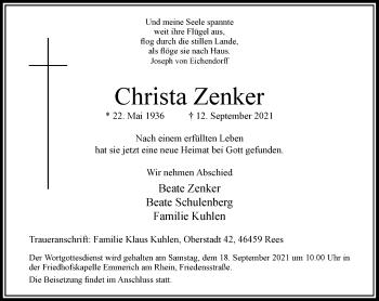 Traueranzeige von Christa Zenker von Rheinische Post