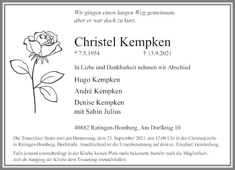 Traueranzeige für Christel Kempken vom 18.09.2021 aus Rheinische Post