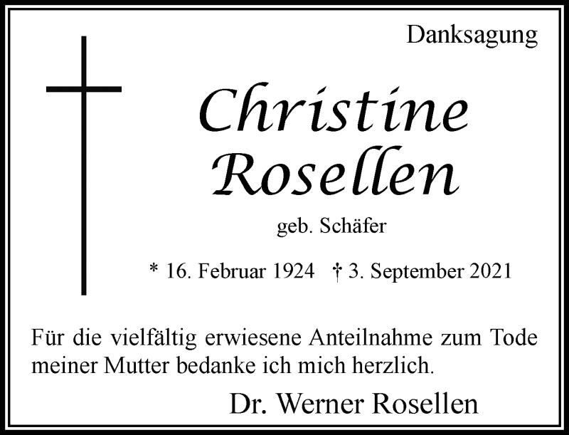 Traueranzeige für Christine Rosellen vom 25.09.2021 aus Rheinische Post