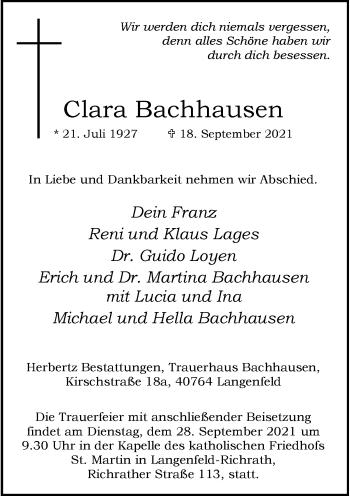 Traueranzeige von Clara Bachhausen von Rheinische Post