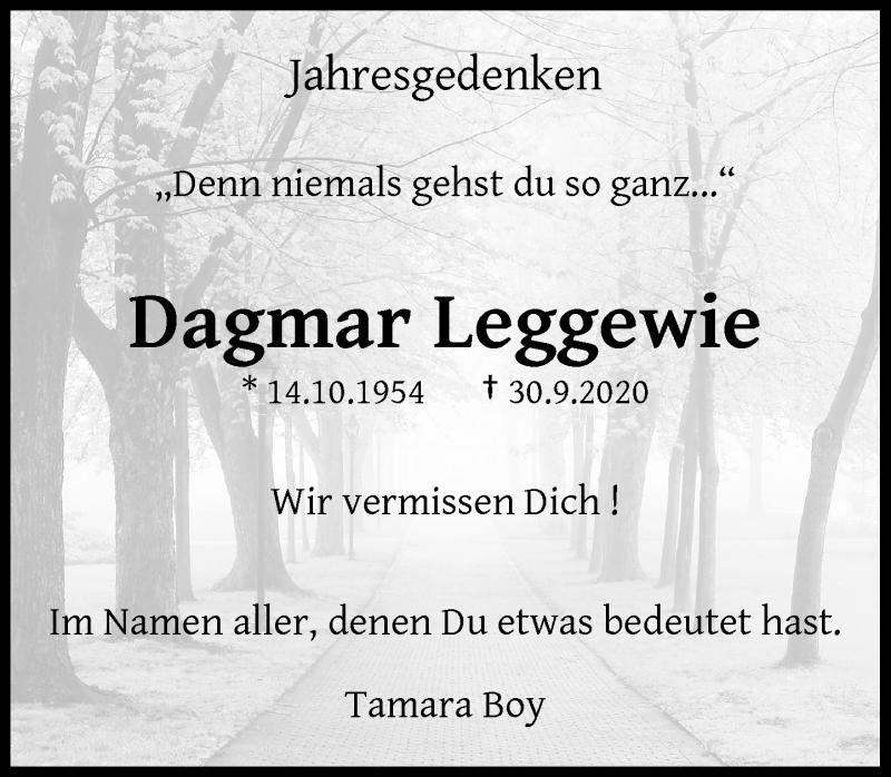 Traueranzeige für Dagmar Leggewie vom 30.09.2021 aus Rheinische Post