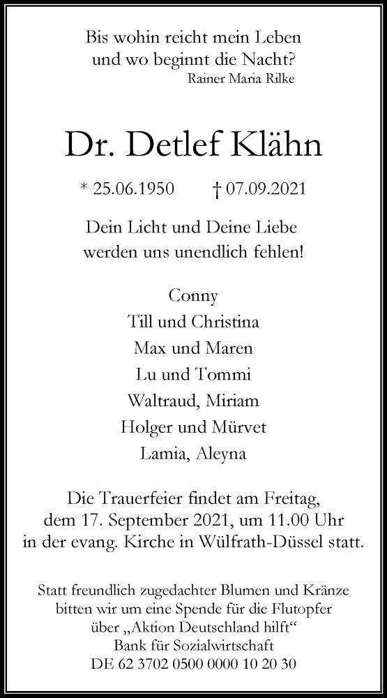 Traueranzeige für Detlef Klähn vom 11.09.2021 aus Rheinische Post