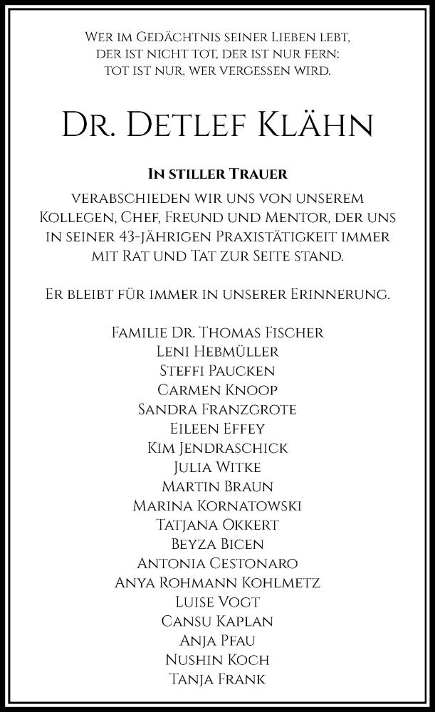 Traueranzeige für Detlef Klähn vom 15.09.2021 aus Rheinische Post