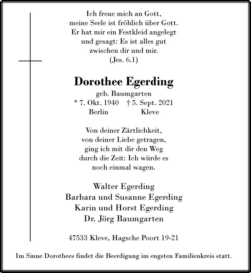 Traueranzeige für Dorothee Egerding vom 11.09.2021 aus Rheinische Post