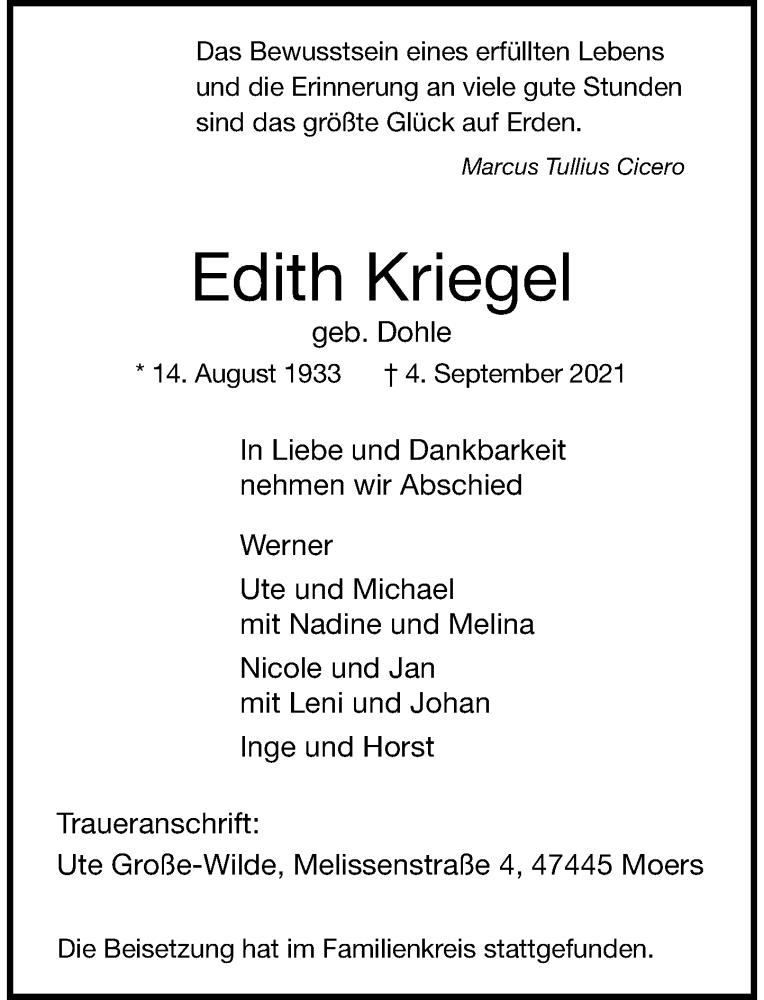 Traueranzeige für Edith Kriegel vom 11.09.2021 aus Rheinische Post