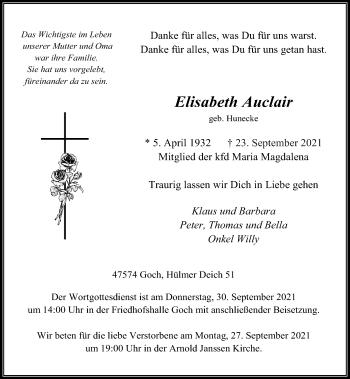 Traueranzeige von Elisabeth Auclair von Rheinische Post