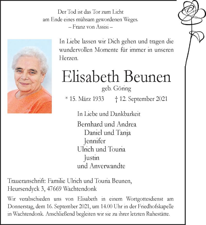 Traueranzeige für Elisabeth Beunen vom 14.09.2021 aus Rheinische Post