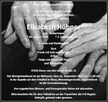 Traueranzeige von Elisabeth Hübner von Rheinische Post
