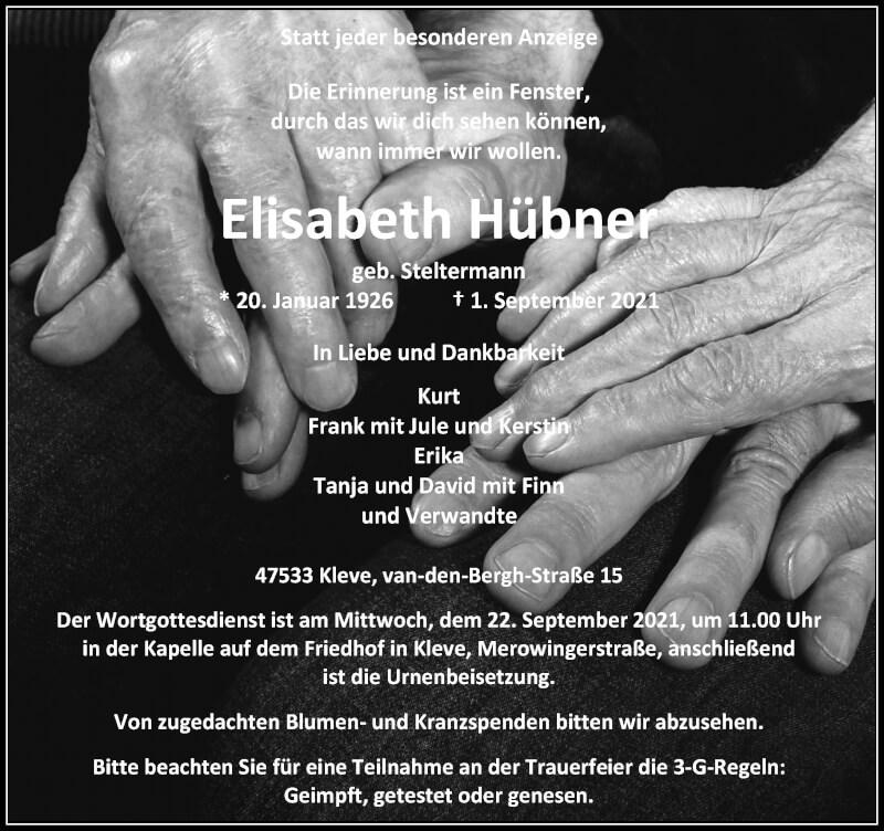 Traueranzeige für Elisabeth Hübner vom 18.09.2021 aus Rheinische Post