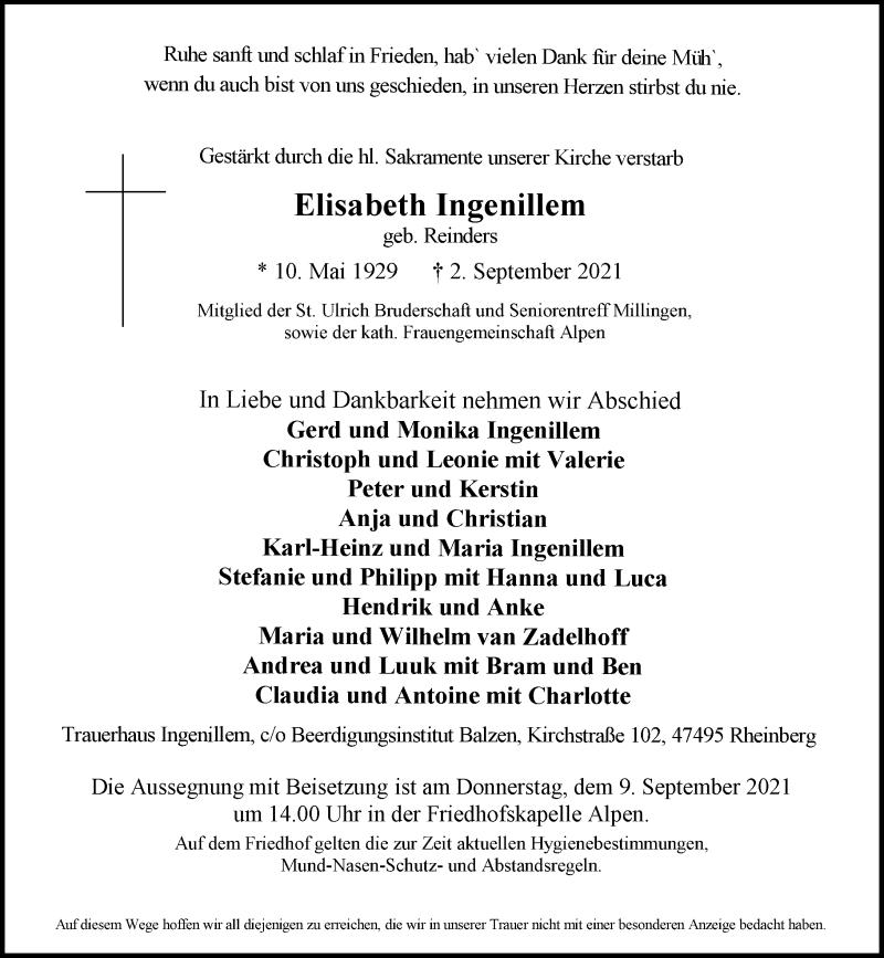 Traueranzeige für Elisabeth Ingenillem vom 04.09.2021 aus Rheinische Post