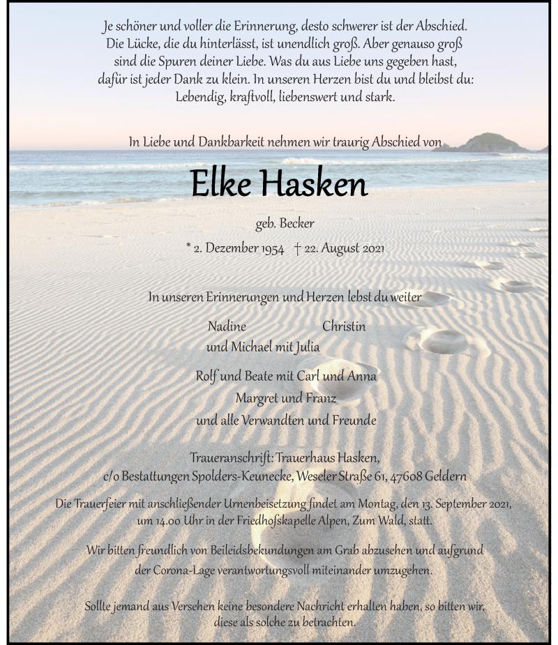 Traueranzeige für Elke Hasken vom 04.09.2021 aus Rheinische Post