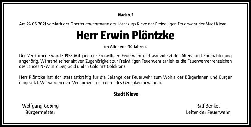 Traueranzeige für Erwin Plöntzke vom 03.09.2021 aus Rheinische Post