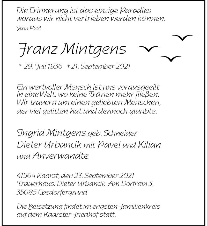Traueranzeige für Franz Mintgens vom 30.09.2021 aus Rheinische Post