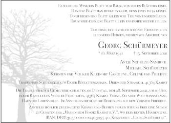 Traueranzeige von Georg Schürmeyer von Rheinische Post