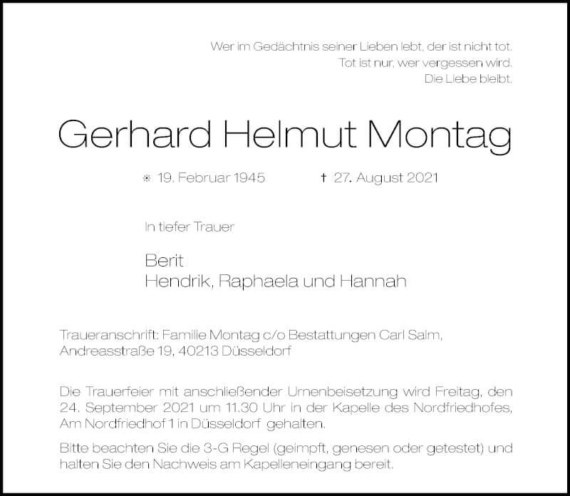 Traueranzeige für Gerhard Helmut Montag vom 18.09.2021 aus Rheinische Post