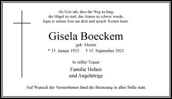 Traueranzeige von Gisela Boeckem von Rheinische Post