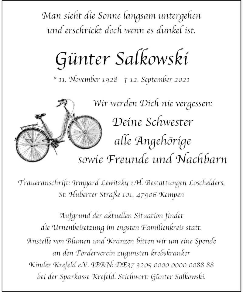 Traueranzeige für Günter Salkowski vom 18.09.2021 aus Rheinische Post