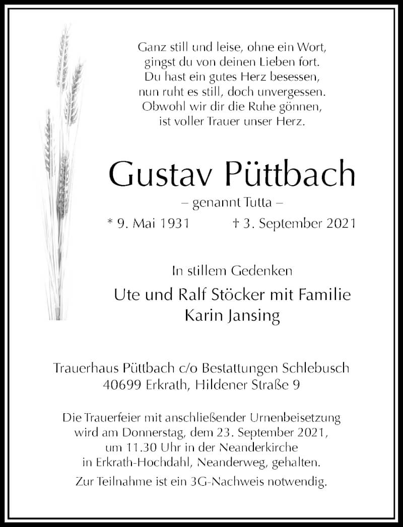 Traueranzeige für Gustav Püttbach vom 18.09.2021 aus Rheinische Post