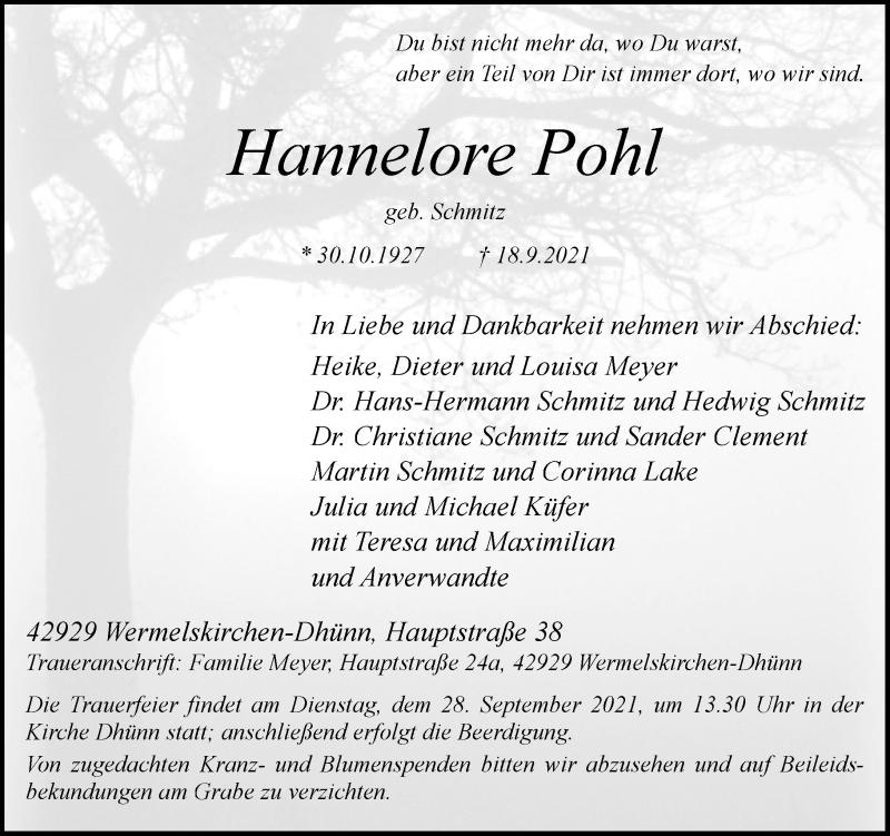 Traueranzeige für Hannelore Pohl vom 22.09.2021 aus Rheinische Post