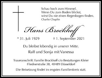 Traueranzeige von Hans Brockhoff von Rheinische Post