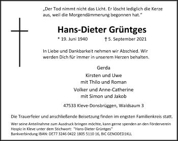 Traueranzeige von Hans-Dieter Grüntges von Rheinische Post