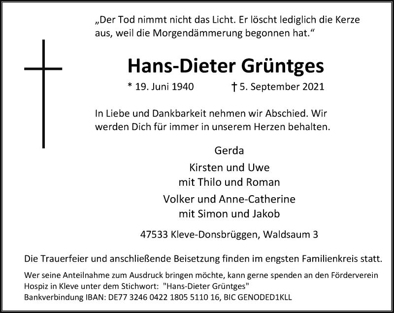 Traueranzeige für Hans-Dieter Grüntges vom 08.09.2021 aus Rheinische Post