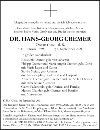 Traueranzeige von Hans-Georg Cremer von Rheinische Post
