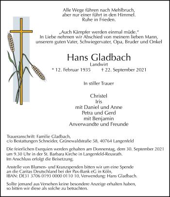 Traueranzeige von Hans Gladbach von Rheinische Post