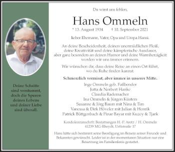 Traueranzeige von Hans Ommeln von Rheinische Post