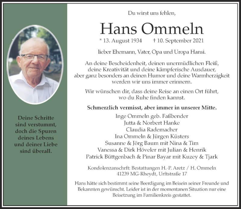 Traueranzeige für Hans Ommeln vom 18.09.2021 aus Rheinische Post
