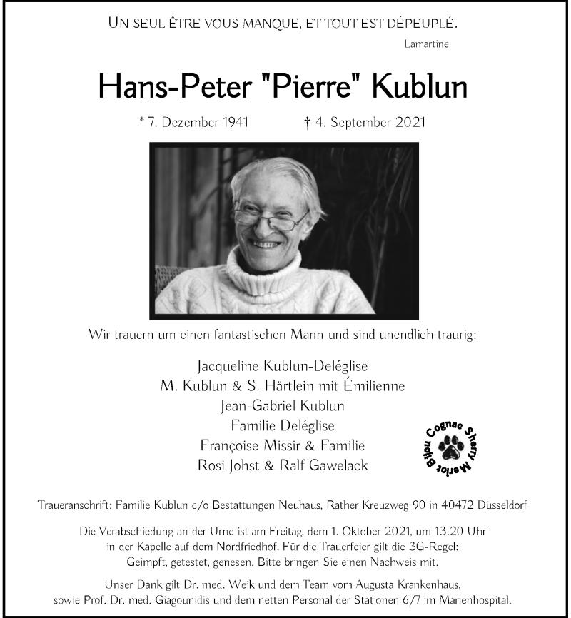 Traueranzeige für Hans-Peter Kublun vom 18.09.2021 aus Rheinische Post