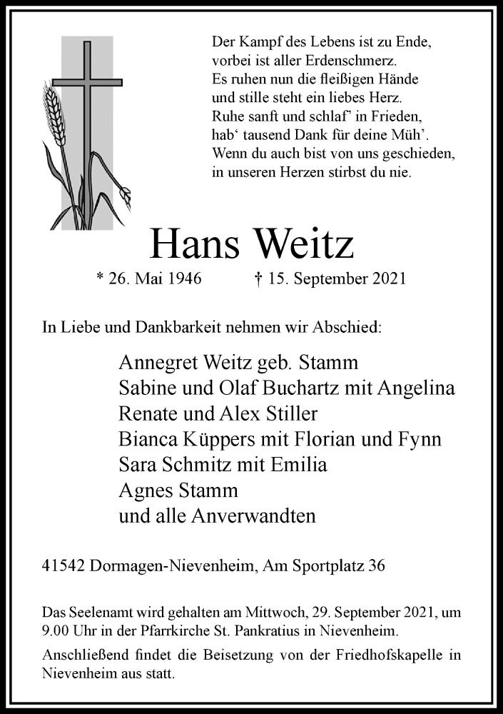 Traueranzeige für Hans Weitz vom 25.09.2021 aus Rheinische Post