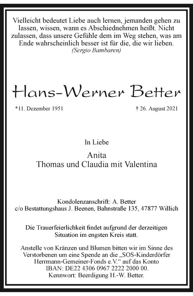 Traueranzeige für Hans-Werner Better vom 04.09.2021 aus Rheinische Post