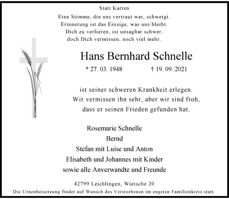 Traueranzeige für Hans Bernhard Schnelle vom 25.09.2021 aus Rheinische Post