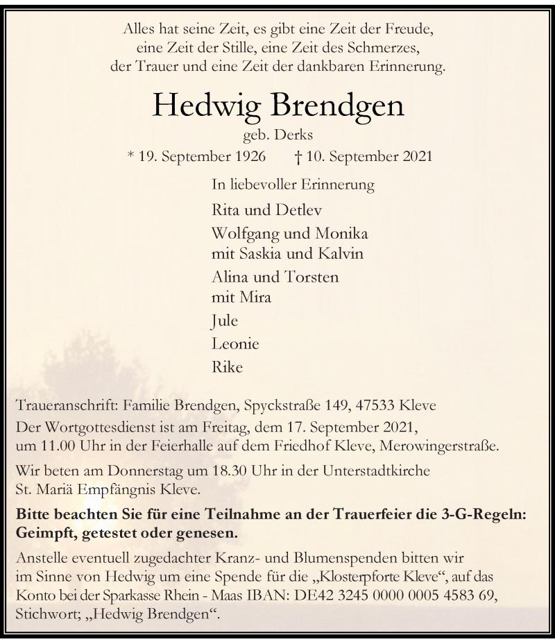 Traueranzeige für Hedwig Brendgen vom 15.09.2021 aus Rheinische Post