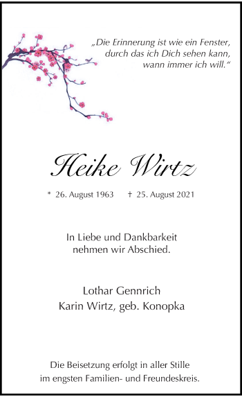 Traueranzeige von Heike Wirtz von Rheinische Post